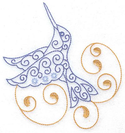 Embroidery Design: Hummingbird swirl C large 4.65w X 4.97h