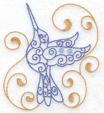 Embroidery Design: Hummingbird swirl F small 3.45w X 3.87h