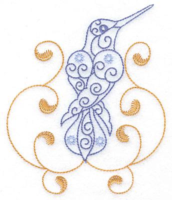 Embroidery Design: Hummingbird swirl G large 4.18w X 4.99h