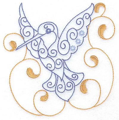 Embroidery Design: Hummingbird swirl H large 3.88w X 4.99h