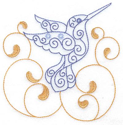 Embroidery Design: Hummingbird swirl I large 4.88w X 4.99h