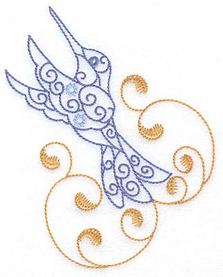 Embroidery Design: Hummingbird swirl J large 3.95w X 4.98h