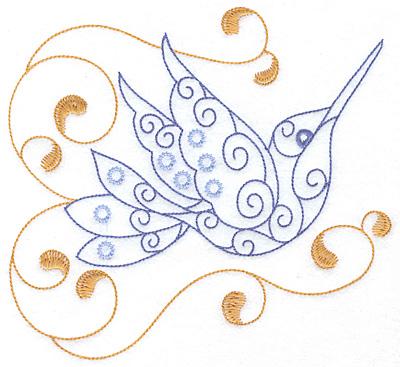 Embroidery Design: Hummingbird swirl K  x/l7.05w X 3.41h