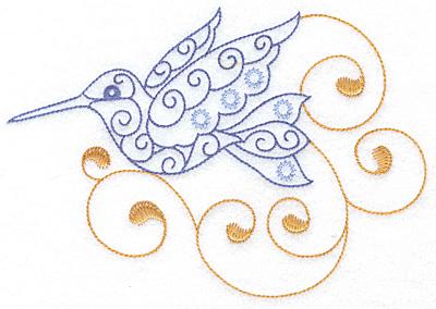 Embroidery Design: Hummingbird swirl L  x/l 6.97w X 4.80h