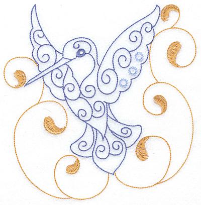 Embroidery Design: Hummingbird swirl M x/l 6.92w X 7.09h