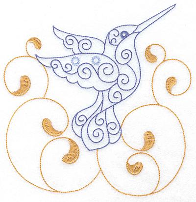 Embroidery Design: Hummingbird swirl N x/l 6.92w X 7.08h