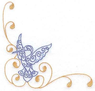 Embroidery Design: Hummingbird left corner large 4.99w X 4.99h