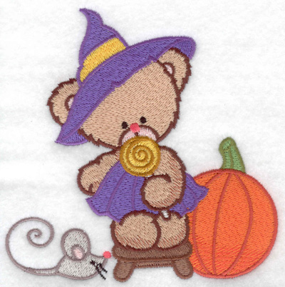 Embroidery Design: Witch bear with mouse large 4.97w X 4.95h