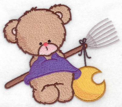 Embroidery Design: Bear with broom large 4.93w X 4.21h