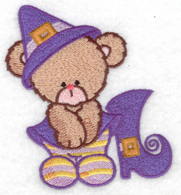 Embroidery Design: Bear witch with boot small 3.36w X 3.85h