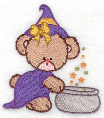 Embroidery Design: Witch bear over cauldron large 4.49w X 4.93h