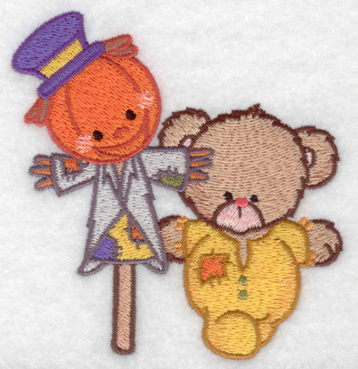 Embroidery Design: Bear with scarecrow small 3.78w X 3.87h