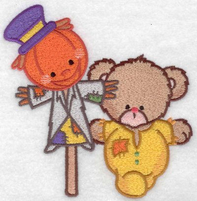 Embroidery Design: Bear with scarecrow large 4.84w X 4.95h