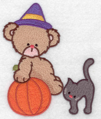 Embroidery Design: Witch bear with black cat large 3.92w X 4.93h