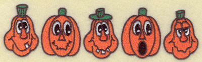 Embroidery Design: Pumpkins in a row 6.94w X 1.91h