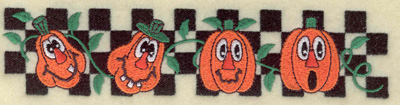 Embroidery Design: Pumpkins in a row on checkered back 6.92w X 1.58h
