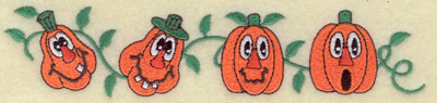 Embroidery Design: Pumpkins in a row with vines 6.82w X 1.51h