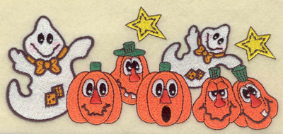Embroidery Design: Ghosts and pumpkins 6.79w X 3.06h