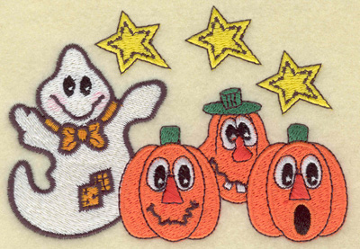 Embroidery Design: Ghost with pumpkin trio 4.63w X 3.24h