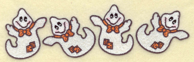 Embroidery Design: Row of ghosts 6.97w X 2.01h