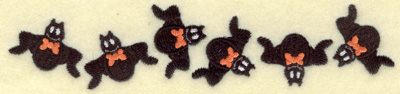 Embroidery Design: Bats in a row small 6.96w X 1.54h