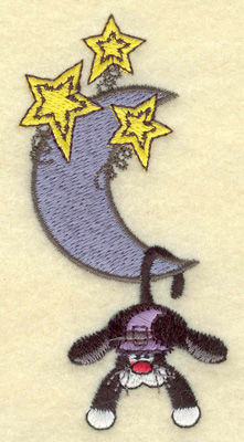 Embroidery Design: Black cat hanging from moon 1.90w X 3.86h