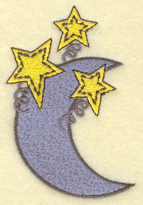 Embroidery Design: Moon and stars 2.35w X 3.58h