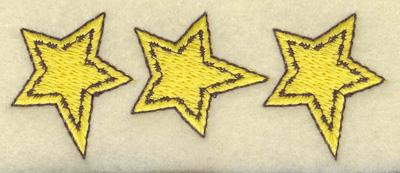 Embroidery Design: Star trio 3.44w X 1.34h
