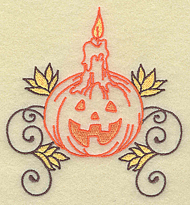Embroidery Design: Pumpkin with candle design small 3.58w X 3.87h