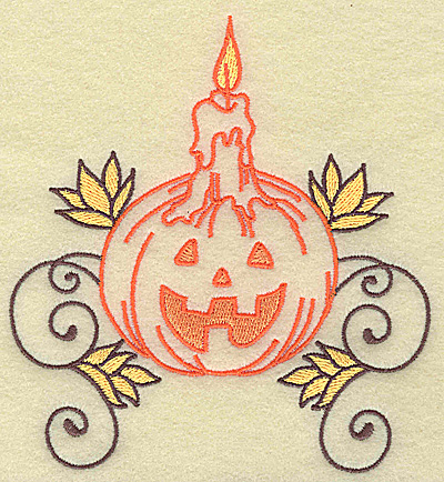 Embroidery Design: Pumpkin with candle design large 4.59w X 4.95h