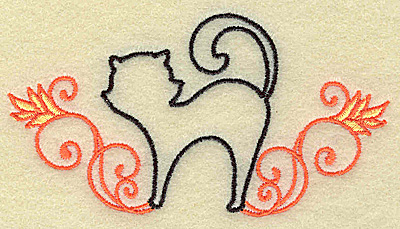 Embroidery Design: Black cat with swirls small 3.87w X 2.05h