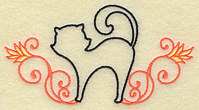 Embroidery Design: Black cat with swirls large 4.96w X 2.63h