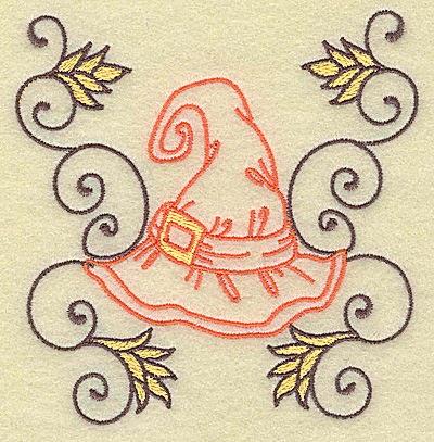 Embroidery Design: Witches hat with swirls small 3.82w X 3.88h