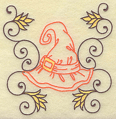 Embroidery Design: Witches hat with swirls large 4.89w X 4.97h