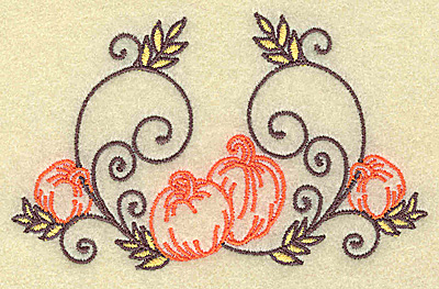 Embroidery Design: Pumpkins and swirls small 3.88w X 2.38h