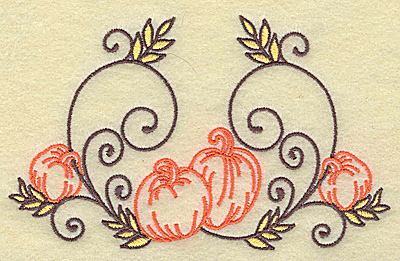 Embroidery Design: Pumpkins and swirls large 4.96w X 3.04h
