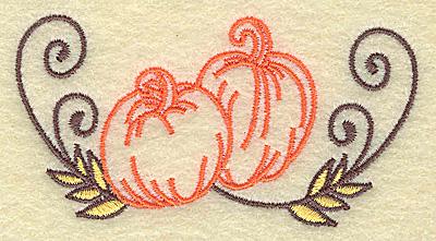 Embroidery Design: Pumpkin duo 3.51w X 1.81h