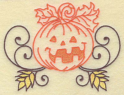 Embroidery Design: Jack-o-lantern design large 4.93w X 3.87h