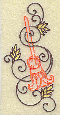 Embroidery Design: Witches broom with swirls small 1.85w X 3.86h