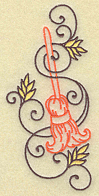 Embroidery Design: Witches broom with swirls large 2.37w X 4.94h
