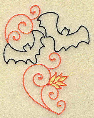 Embroidery Design: Bats and swirls small 3.04w X 3.87h