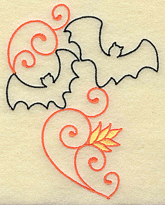 Embroidery Design: Bats and swirls large 3.89w X 4.95h