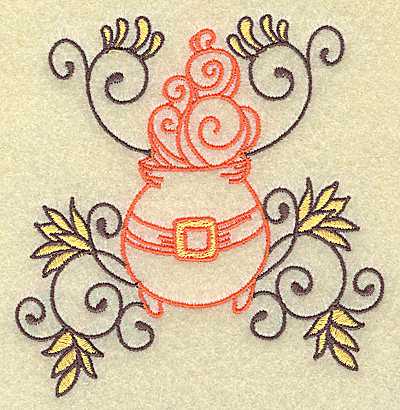 Embroidery Design: Witches cauldron with swirls small 3.80w x 3.88h