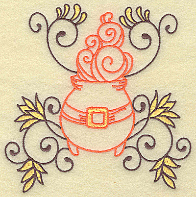 Embroidery Design: Witches cauldron with swirls large 4.86w X 4.97h
