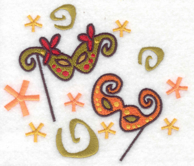 Embroidery Design: New Year's Eve masks large 4.96w X 4.30h