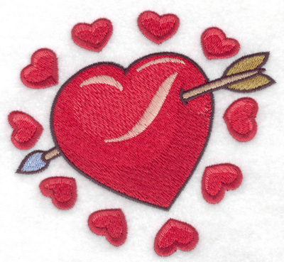 Embroidery Design: Valentine hearts large 4.95w X 4.58h