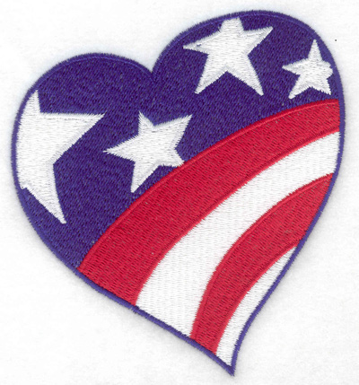 Embroidery Design: Independence Day heart flag large 4.25w X 4.69h