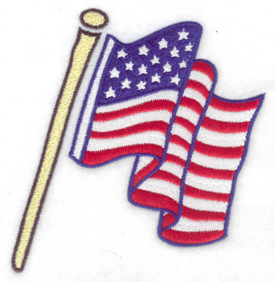 Embroidery Design: Labor Day flag large 4.49w X 4.76h