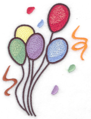 Embroidery Design: Birthday balloons large 3.67w X 4.95h
