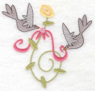 Embroidery Design: Anniversary doves small 3.85w X 3.71h